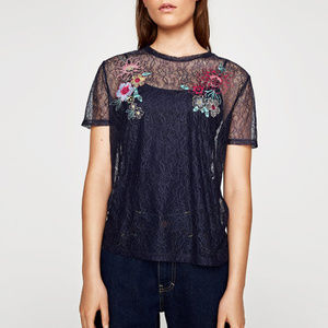 NWT Zara Navy Floral Mesh Lace Short Sleeve Top